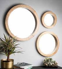 mango wood round wall mirror in