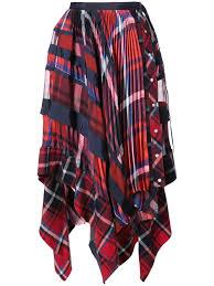 Designer Plaid Skirt Sacai Handkerchief Draped Tartan Skirt Plaid Pleated Skirt