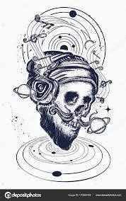 человеческие черепа и вселенной тату и футболку дизайн векторное