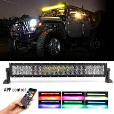 Light Bar 5d Jiuguang 22inch Rgb Led Light Bar 5d Reflector Combo Beam Spot Flood Color Changing By Bluetooth App Control Music Code Timing And Diy Color Offroad