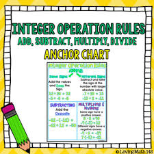 Math Operations Chart Integer Operation Rules Anchor Chart