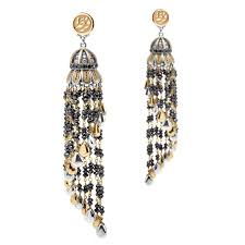 azza fahmy wonders of nature beaded black diamond tassel chandelier earrings