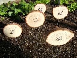 garden markers. Modren Garden Tree Slices And Galvanized Steel Wire To Garden Markers
