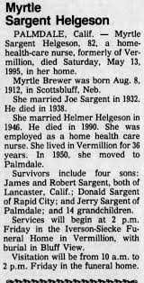 Obituary for Myrtle Sargent Helgeson, 1912-1995 (Aged 82 ...