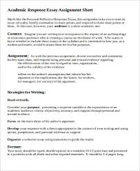 response essay sample examples in word pdf academic response essay assignment sheet sample