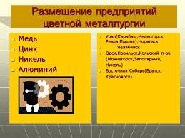 и цветная металлургия России Черная и цветная металлургия России