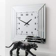art deco style mirrored wall clock
