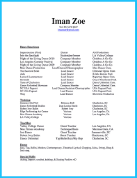 Dance Resume Gallery of Dance Resume Examples 50