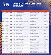 Ipl 2019 The League Games Schedule Gutshot Magazine