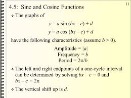 4 5 sine and cosine functions