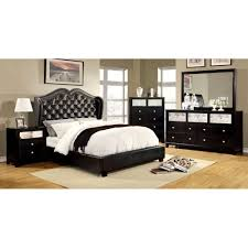 Monroe Bedroom Furniture Modest On Throughout Queen Size Bed Black  FinishCm7016Bk Q 9