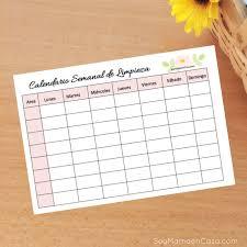 formato cronograma de actividades mensual calendario semanal para limpiar la casa