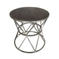 metal base round oak wood occasional end tables