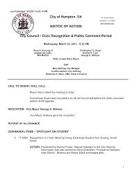 NOTICE OF ACTION City of Hampton, VA City Council - Civic Recognition &  Public Comment Period