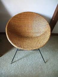O Wicker Hoop Chair Vintage Mid Century Modern Rattan Scoop With Iron  Legs