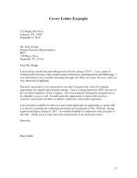 Cover Letter For Business Internship The Letter Sample