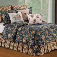 Hartford Jacobean Floral Midnight Blue Quilt Bedding &  Adamdwight.com