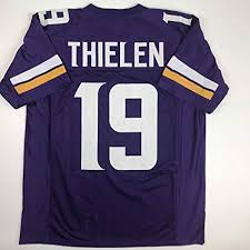 Size Football Stitched logos New Xl Unsigned Purple Custom Adam No Minnesota Thielen Brands Jersey Men's