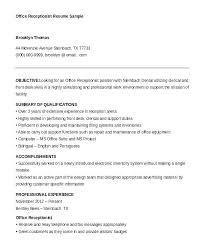 Objective For Resume Receptionist Beauteous Medical Office Receptionist Resume Receptionist Resume Template