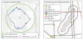 Gis Maps Showing Examples Of A School Buffer And A Walking Route