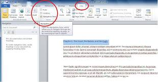 how to open navigation pane in ms word 2010