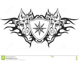 Template For A Star Tribal Flame Tattoo Template With A Star Stock Vector Illustration