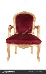 Rot Und Gold Viktorianischen Alten Antiken Stuhl Isoliert