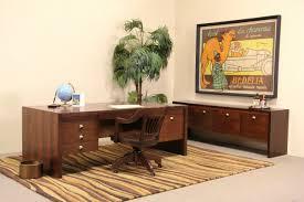 dunbar midcentury modern rosewood executive desk credenza set 1960 s vintage photo