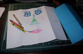silly easy fast paper puppets playful bookbinding and paper works crayon puppet in progress