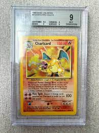 1999 Pokemon Base Set Unlimited #4 Charizard Holo R BGS 9, PSA 9