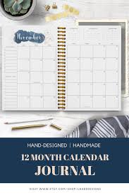 Monthly Calendar Notebook Vivian Calendar Journal 2019 Monthly Calendar Notebook