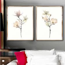 set of 2 white magnolia wall decor floral wall art illustration minimalist watercolor plant on white magnolia wall art with set of 2 white magnolia wall decor floral wall art illustration