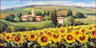 painting painting on a tuscany landscape by bruno chirici