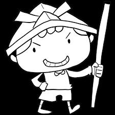 5月5日はこどもの日新聞紙の兜をかぶり剣を持って勝ち誇ったような笑顔