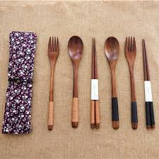 3pcs portable spoon fork luxury dinnerware japanese wooden cutlery set with cloth bag kitchen food home party tableware set