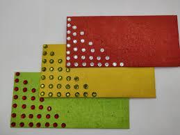Set Of 3 Glitter Stone Work Envelope