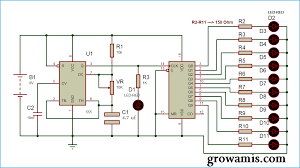 led chaser circuit diagram using ic 555 and cd 4017 grow amis circuit diagrams worksheet led chaser circuit diagram