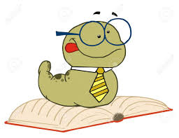 knowledgeable old worm wearing a tie and gles resting on an open book stock vector