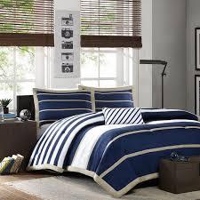 sporty blue white navy tan stripe soft comforter set boys full queen twin szs