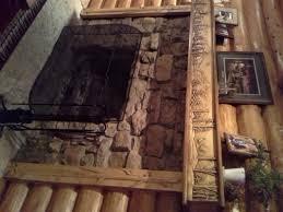 log home fireplace mantel 3