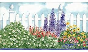 Flower Wall Paper Border Watercolor Gardening Flowers Wallpaper Border Blue Wallpaper