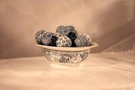 Decorative Balls For Bowls Blue Delectable Blue and White Ceramic Bowl with Decorative Balls at 32stdibs
