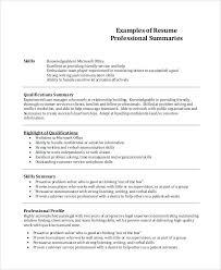 Summary Sample Resume Sample Resume Summary Of Qualifications Resume Synopsis Example