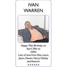 IVAN WARREN - 70th birthday - Lowestoft Journal Announcements - Family  Notices 24