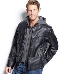 calvin klein faux leather jacket motorcycle er men s large w hood