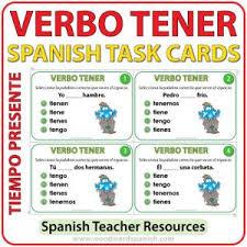 Spanish Tener Chart Tener Woodward Spanish