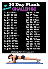 Plank Exercise Chart 30 Day Plank Challenge Benefits Before And After Results
