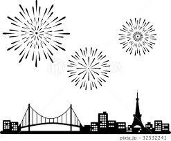 東京タワーとレインボーブリッジと花火 シルエットのイラスト素材