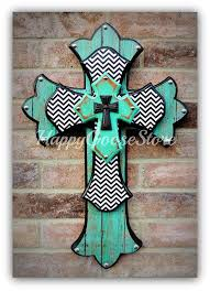 dium wall cross antiqued turquoise with b w chevron by happy goose