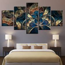 Prints Wall Art Canvas <b>5 Pieces Abstract</b> Flower Painting Fashion ...